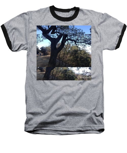 Tree Silhouette Collage Baseball T-Shirt by Nora Boghossian