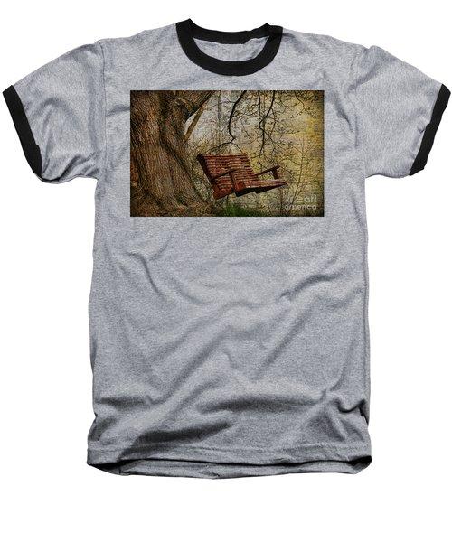 Tree Swing By The Lake Baseball T-Shirt by Deborah Benoit