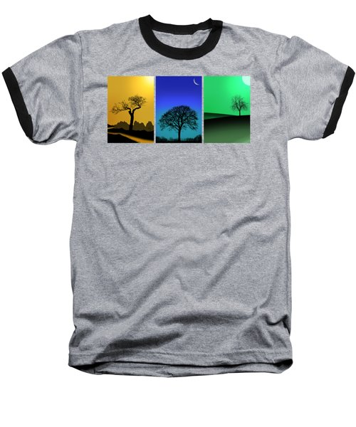 Tree Triptych Baseball T-Shirt by Mark Rogan