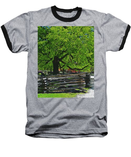 Tree With Colonial Fence Baseball T-Shirt