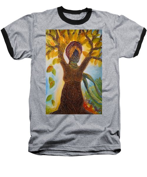 Tree Woman Baseball T-Shirt by Theresa Marie Johnson