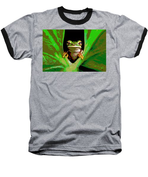 Baseball T-Shirt featuring the mixed media Treefrog by Charles Shoup