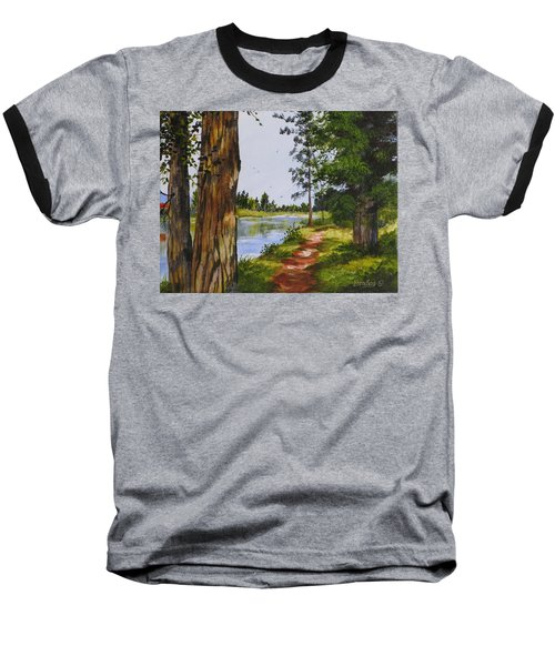 Trees Along The River Baseball T-Shirt