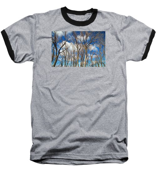 Baseball T-Shirt featuring the photograph Trees And Clouds by Valentino Visentini