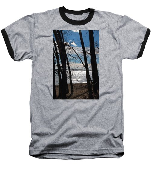 Baseball T-Shirt featuring the photograph Trees And Lake Reflections by Valentino Visentini