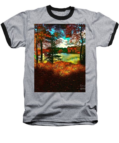 Trees And Shadows In New England Baseball T-Shirt by Saundra Myles