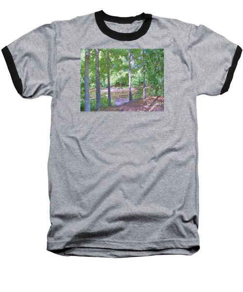 Baseball T-Shirt featuring the photograph Trees At Rivers Edge by Shirley Moravec