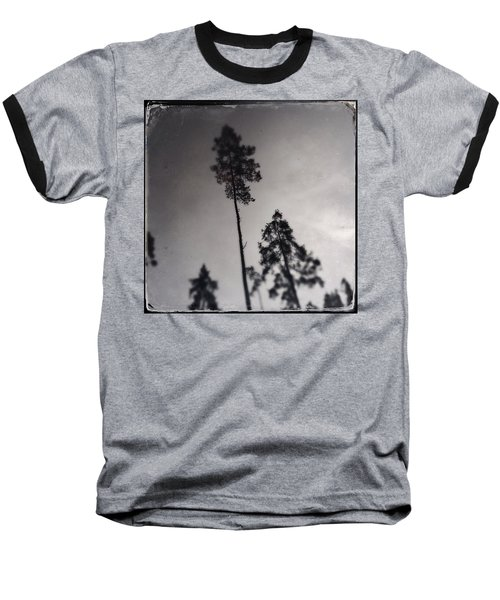 Trees Black And White Wetplate Baseball T-Shirt