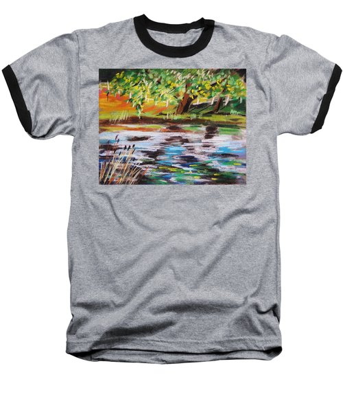 Trees Edge The Pond Baseball T-Shirt by John Williams