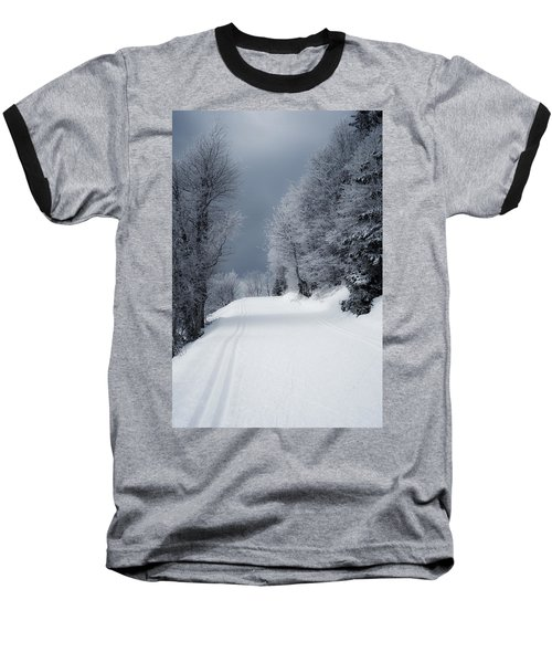Trees Hills And Snow Baseball T-Shirt by Miguel Winterpacht