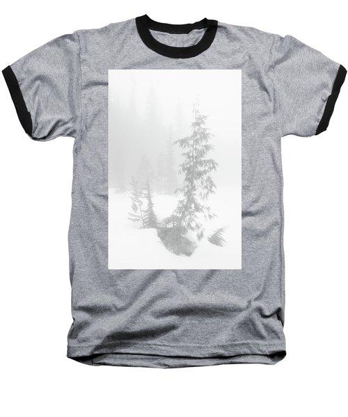 Trees In Fog Monochrome Baseball T-Shirt
