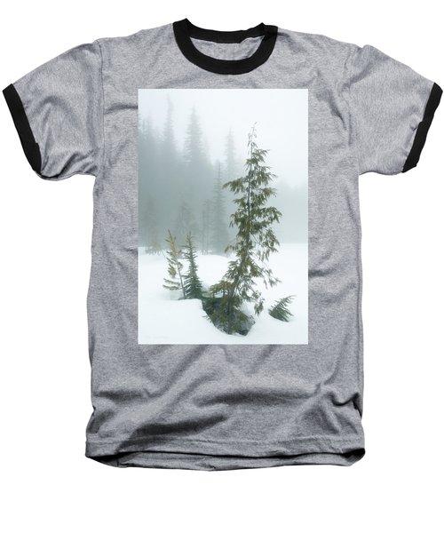 Trees In Fog Baseball T-Shirt