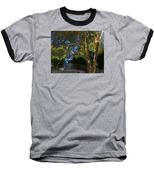 Baseball T-Shirt featuring the digital art Trees In Park by Walter Chamberlain