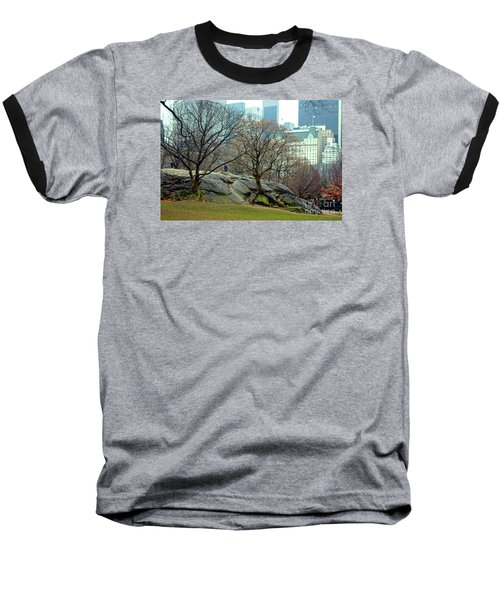 Baseball T-Shirt featuring the photograph Trees In Rock by Sandy Moulder