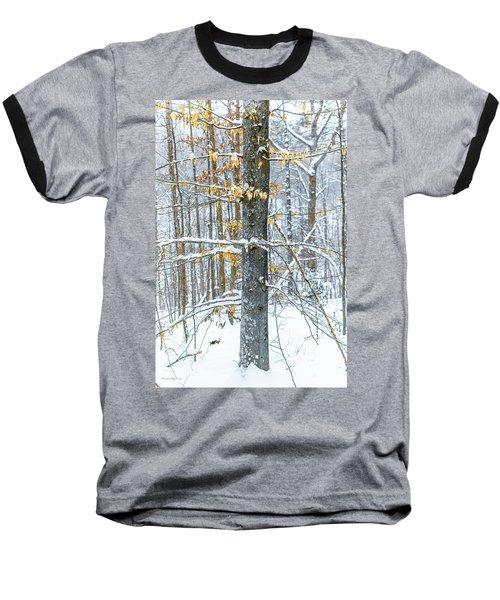 Trees In Snow Baseball T-Shirt