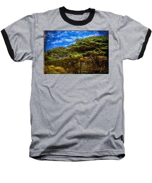 Trees On An Oregon Beach Baseball T-Shirt by John Brink