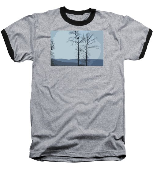 Baseball T-Shirt featuring the photograph Trees On Blue by Donna G Smith