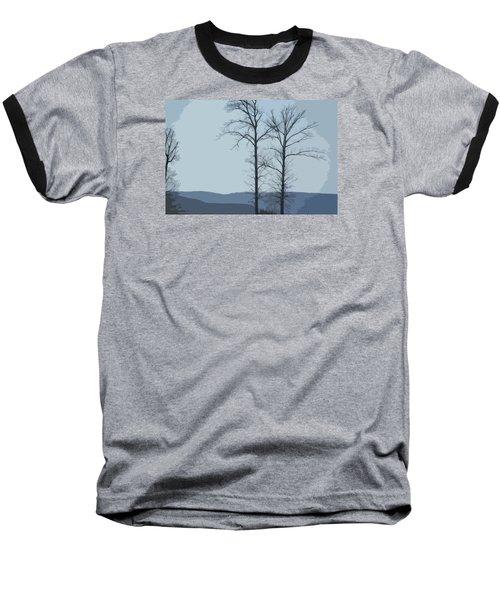Trees On Blue Baseball T-Shirt