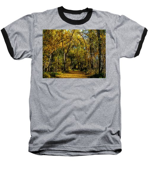 Trees Over A Path Through The Woods In Fall Color Baseball T-Shirt by John Brink