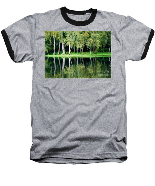 Baseball T-Shirt featuring the photograph Trees Reflected In Water by Colin Rayner