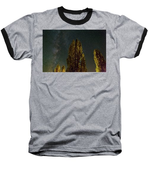 Trees Under The Milky Way On A Starry Night Baseball T-Shirt