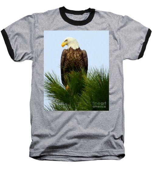 Baseball T-Shirt featuring the photograph Treetop Eagle by Myrna Bradshaw