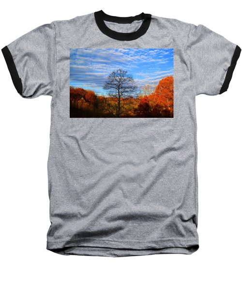 Baseball T-Shirt featuring the photograph Treetops Sunrise by Kathryn Meyer