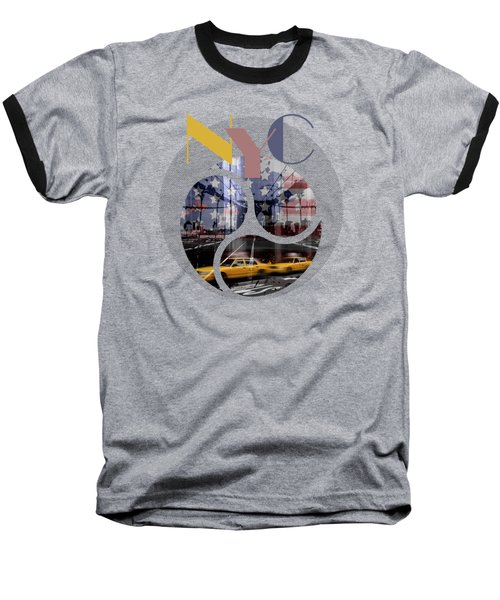 Trendy Design New York City Geometric Mix No 2 Baseball T-Shirt by Melanie Viola