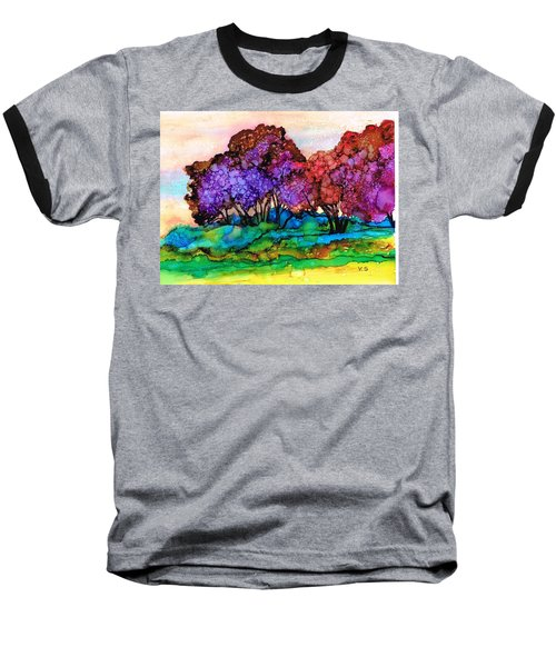 Baseball T-Shirt featuring the painting Trendy Trees by Val Stokes