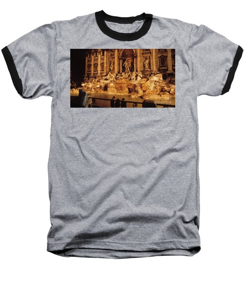 Trevi At Night Baseball T-Shirt