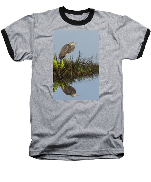 Tri-colored Heron And Reflection Baseball T-Shirt