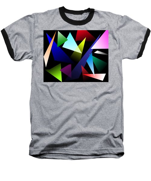 Triangles Baseball T-Shirt by David Stasiak