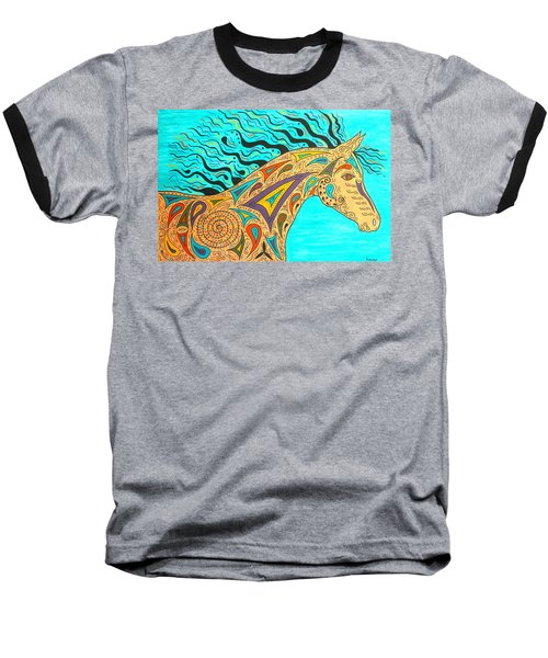 Tribal Carnival Spirit Horse Baseball T-Shirt by Susie WEBER