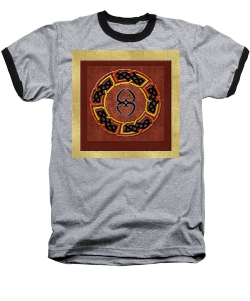 Baseball T-Shirt featuring the painting Tribal Celt Asase Ye Duru Mother Earth Symbol by Kandy Hurley