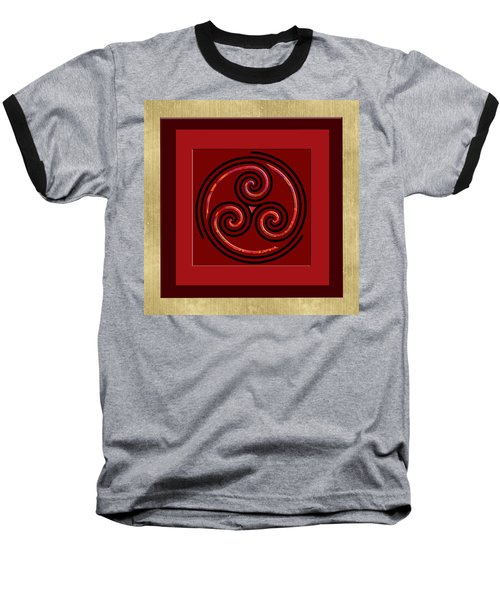 Baseball T-Shirt featuring the painting Tribal Celt Triple Spiral by Kandy Hurley
