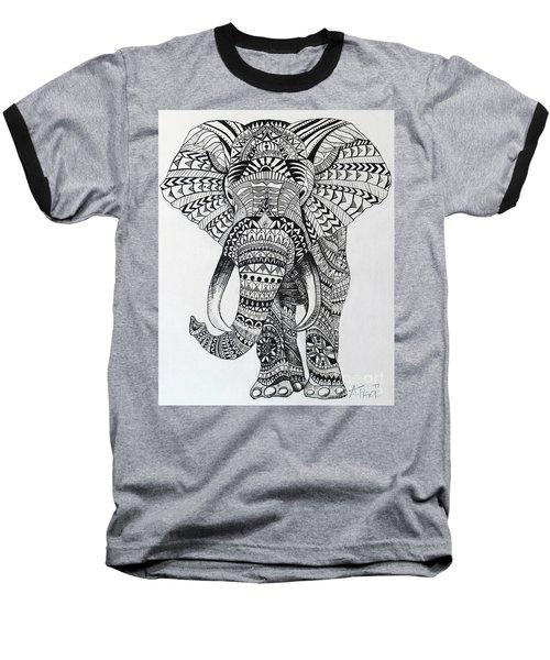 Tribal Elephant Baseball T-Shirt by Ashley Price