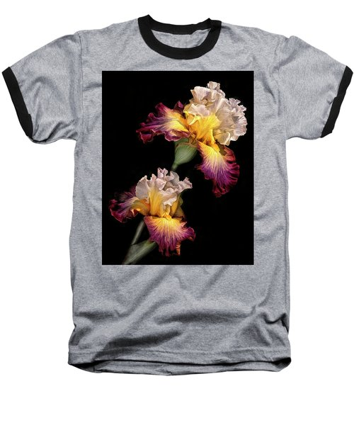 Tricolor Iris Pair Baseball T-Shirt by Dave Mills