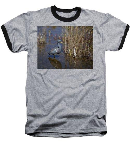 Tricolored Heron Wading Baseball T-Shirt
