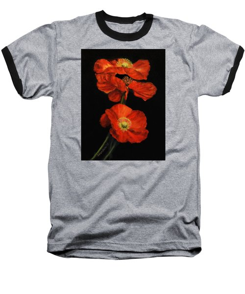 Baseball T-Shirt featuring the painting Poppy Trio by Sandra Nardone