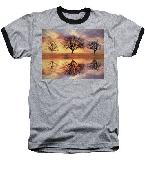 Baseball T-Shirt featuring the mixed media Trio Of Trees by Lori Deiter