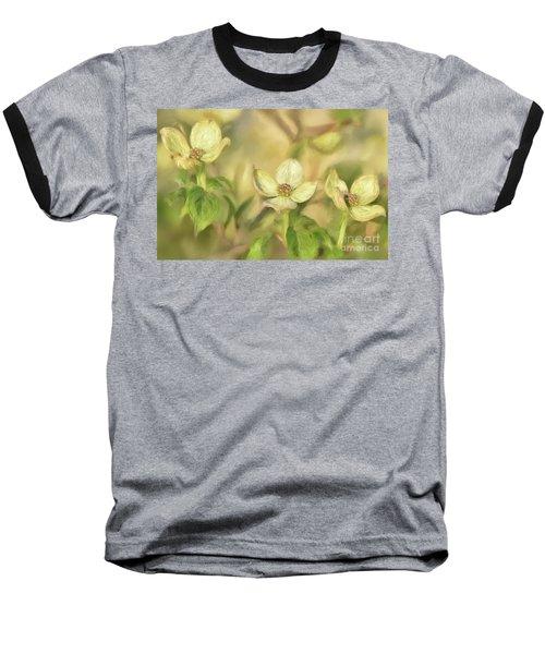 Baseball T-Shirt featuring the digital art Triple Dogwood Blossoms In Evening Light by Lois Bryan
