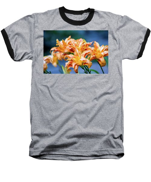 Baseball T-Shirt featuring the photograph Triple Lilies by Linda Segerson