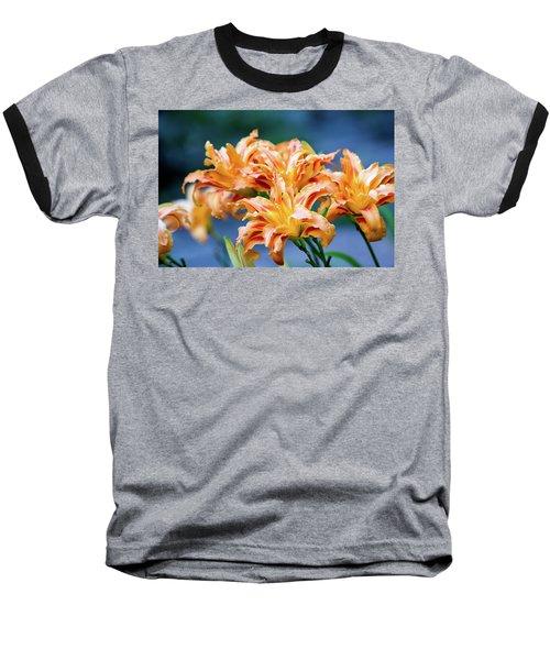 Triple Lilies Baseball T-Shirt by Linda Segerson