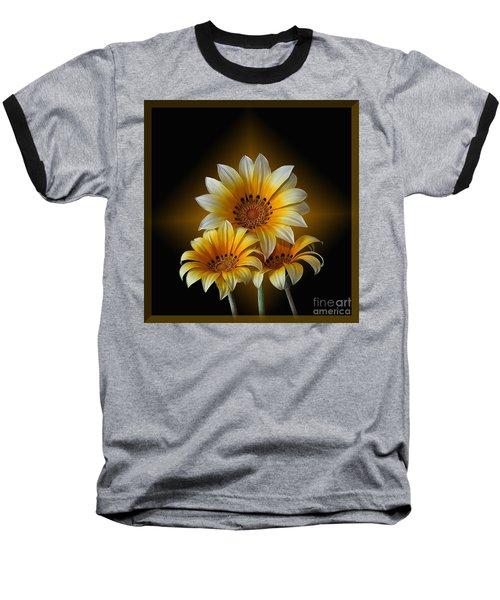 Triple Sunshine Black And Gold Baseball T-Shirt by Shirley Mangini
