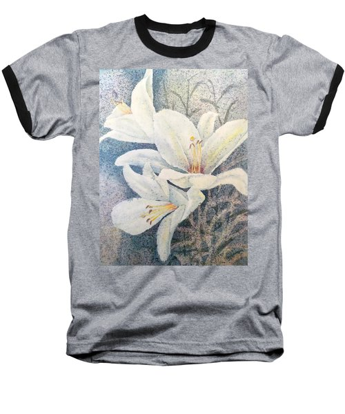 Baseball T-Shirt featuring the painting Triplefold White by Carolyn Rosenberger