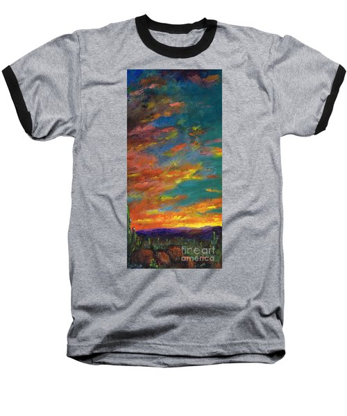 Triptych 1 Desert Sunset Baseball T-Shirt