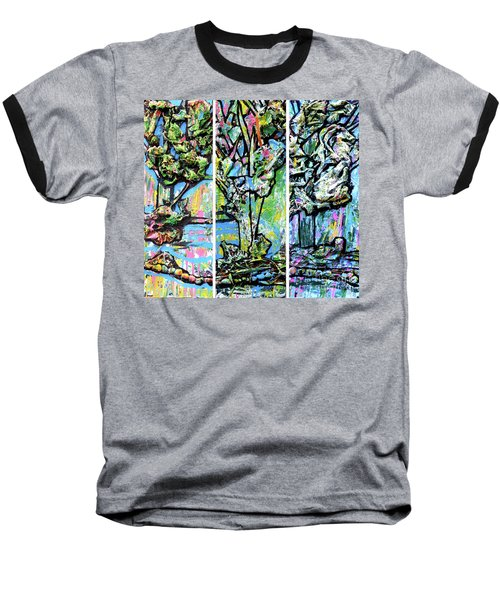 Baseball T-Shirt featuring the painting Triptych Of Three Trees By A Brook by Genevieve Esson