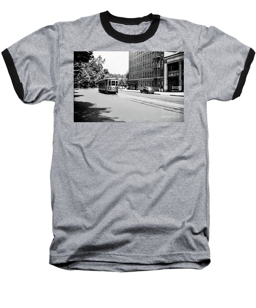 Baseball T-Shirt featuring the photograph Trolley With Packard Building  by Cole Thompson