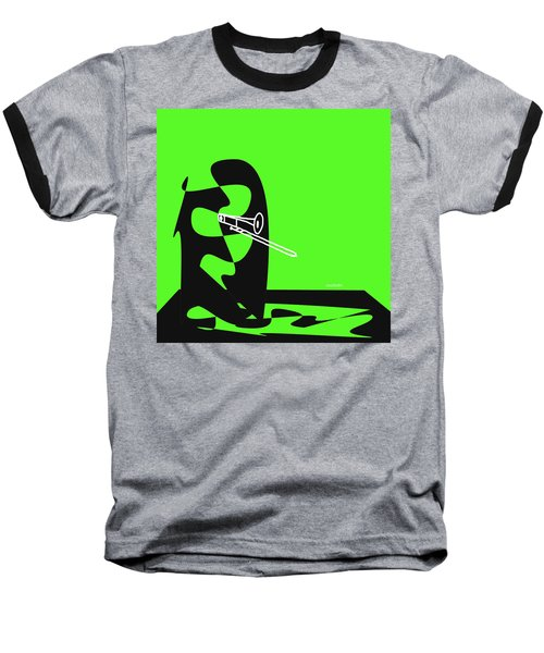 Trombone In Green Baseball T-Shirt by David Bridburg