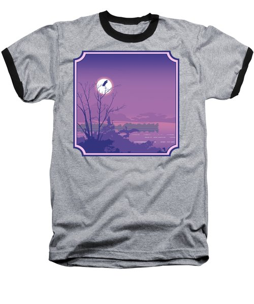 Tropical Birds Sunset Purple Abstract - Square Format Baseball T-Shirt